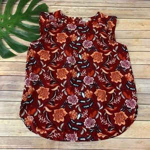 Loft Outlet red and orange floral ruffle trim top